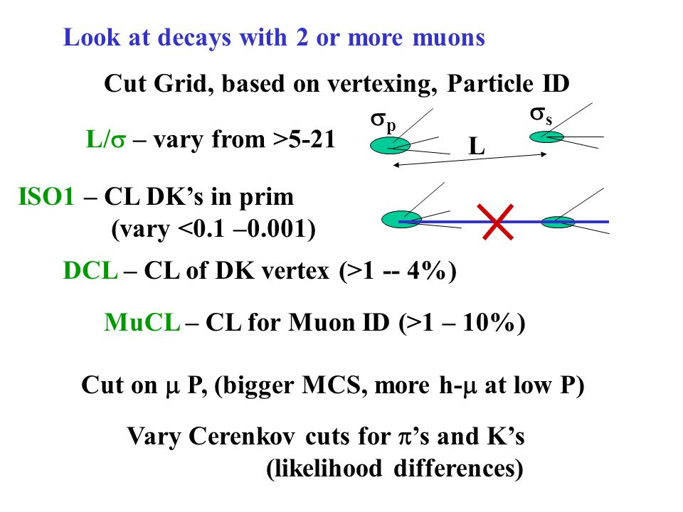 Look at decays with 2 or more muons Cut Grid, based on vertexing, Particle ID L/  – vary from >5-21 L pp ss ISO1 – CL DK's in prim (vary <0.1 –0.001) Vary Cerenkov cuts for  's and K's (likelihood differences) DCL – CL of DK vertex (>1 -- 4%) MuCL – CL for Muon ID (>1 – 10%) Cut on  P, (bigger MCS, more h-  at low P)
