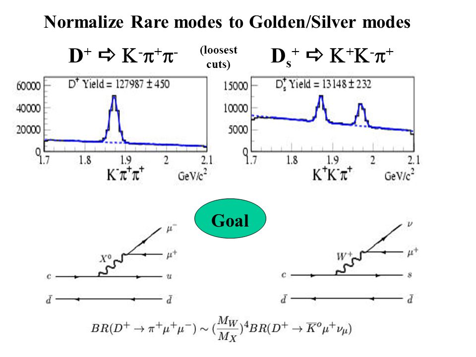 Normalize Rare modes to Golden/Silver modes Ds+  +-+Ds+  +-+ D+  -+-D+  -+- Goal (loosest cuts)