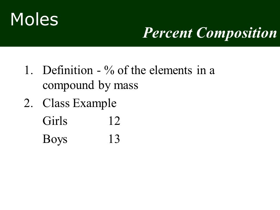 Moles 1. Definition - % of the elements in a compound by mass 2.Class Example Girls12 Boys13 Percent Composition