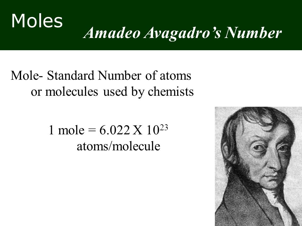 Moles Mole- Standard Number of atoms or molecules used by chemists 1 mole = 6.022 X 10 23 atoms/molecule Amadeo Avagadro's Number