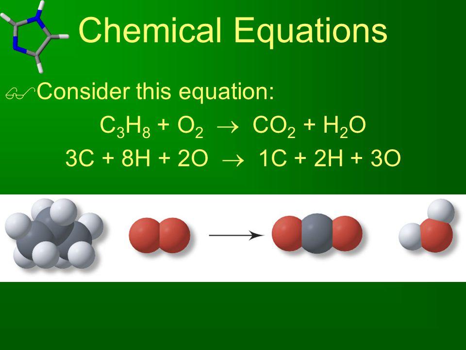  Consider this equation: C 3 H 8 + O 2  CO 2 + H 2 O 3C + 8H + 2O  1C + 2H + 3O
