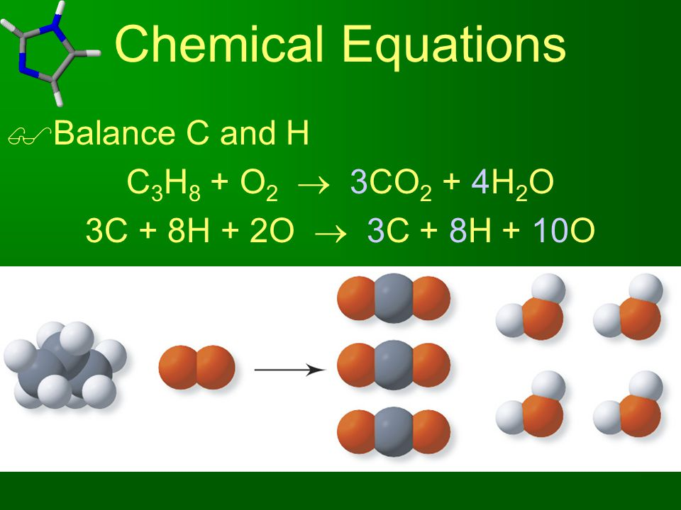 Chemical Equations  Balance C and H C 3 H 8 + O 2  3CO 2 + 4H 2 O 3C + 8H + 2O  3C + 8H + 10O