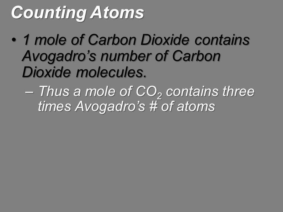 1 mole of Carbon Dioxide contains Avogadro's number of Carbon Dioxide molecules.1 mole of Carbon Dioxide contains Avogadro's number of Carbon Dioxide