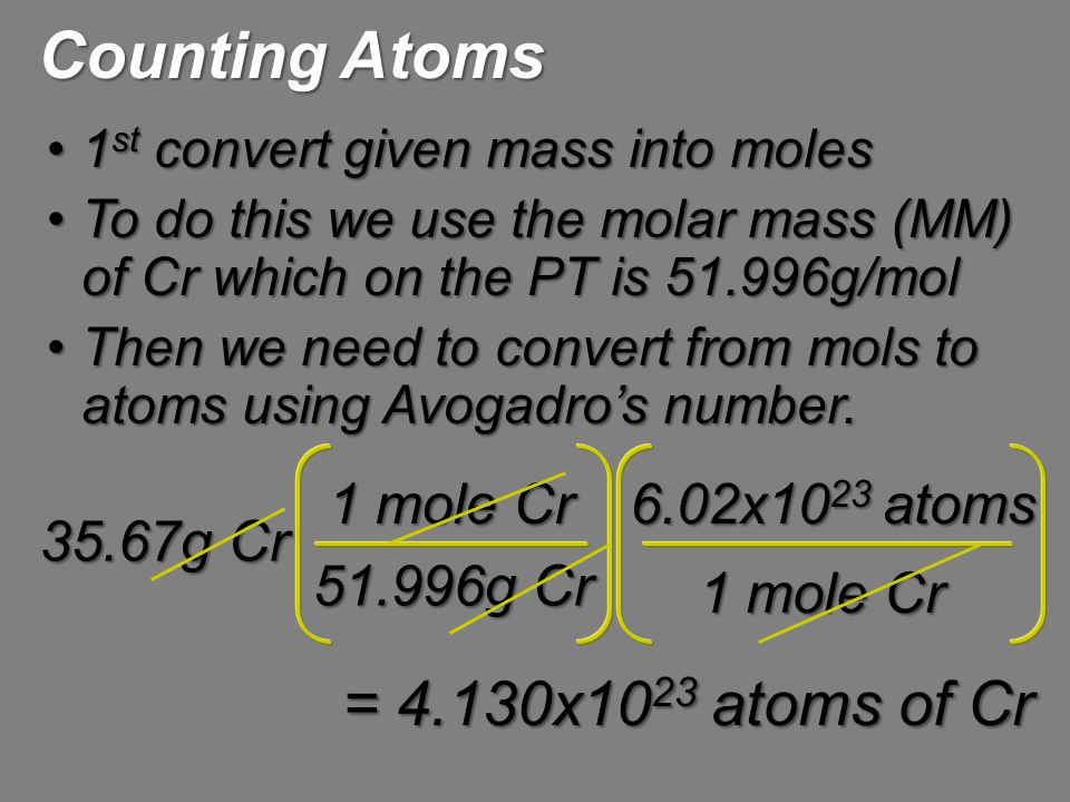 1 st convert given mass into moles1 st convert given mass into moles To do this we use the molar mass (MM) of Cr which on the PT is 51.996g/molTo do t