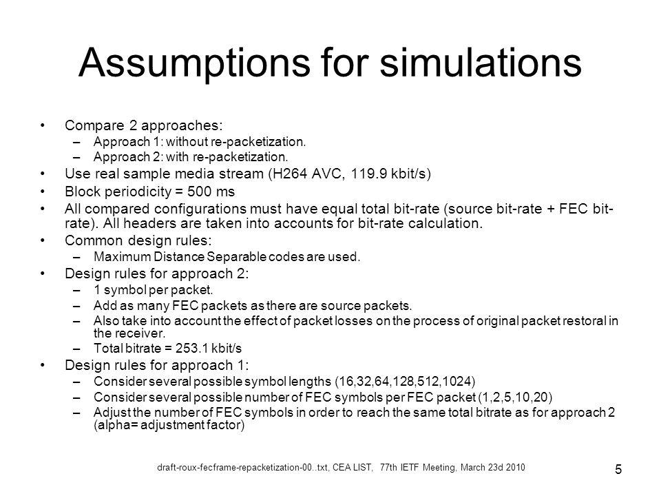 draft-roux-fecframe-repacketization-00..txt, CEA LIST, 77th IETF Meeting, March 23d 2010 6 Alpha values for approach 1 +--------------------------------------------------------------+ | Symbol | Number of repair symbols per repair packet | | size: | | | | 1 2 5 10 20 | | | | | 16 | 0.336 0.508 0.734 0.862 0.944 | | 32 | 0.502 0.675 0.851 0.932 0.979 | | 64 | 0.661 0.798 0.912 0.958 0.982 | | 128 | 0.766 0.854 0.919 0.941 XXXXX | | 256 | 0.789 0.834 0.867 XXXXX XXXXX | | 512 | 0.723 0.750 XXXXX XXXXX XXXXX | | 1024 | 0.539 XXXXX XXXXX XXXXX XXXXX | +--------------------------------------------------------------+