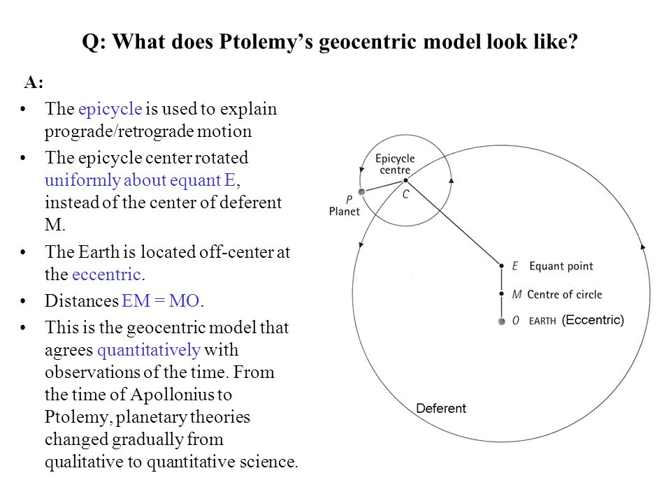 Q: What does Ptolemy's geocentric model look like? The epicycle is used to explain prograde/retrograde motion The epicycle center rotated uniformly ab