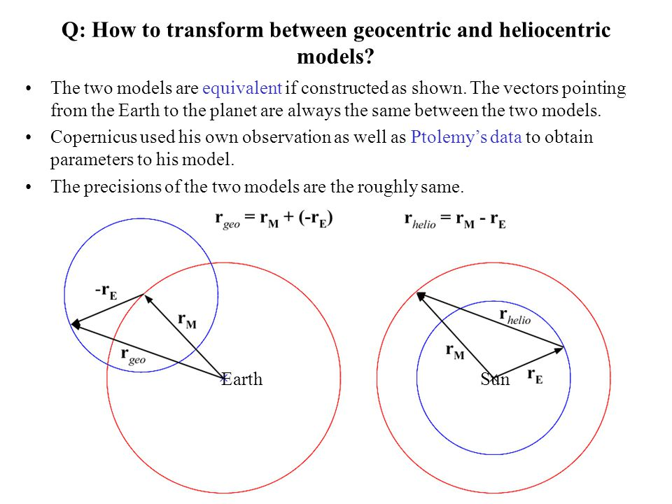 Q: How to transform between geocentric and heliocentric models? The two models are equivalent if constructed as shown. The vectors pointing from the E