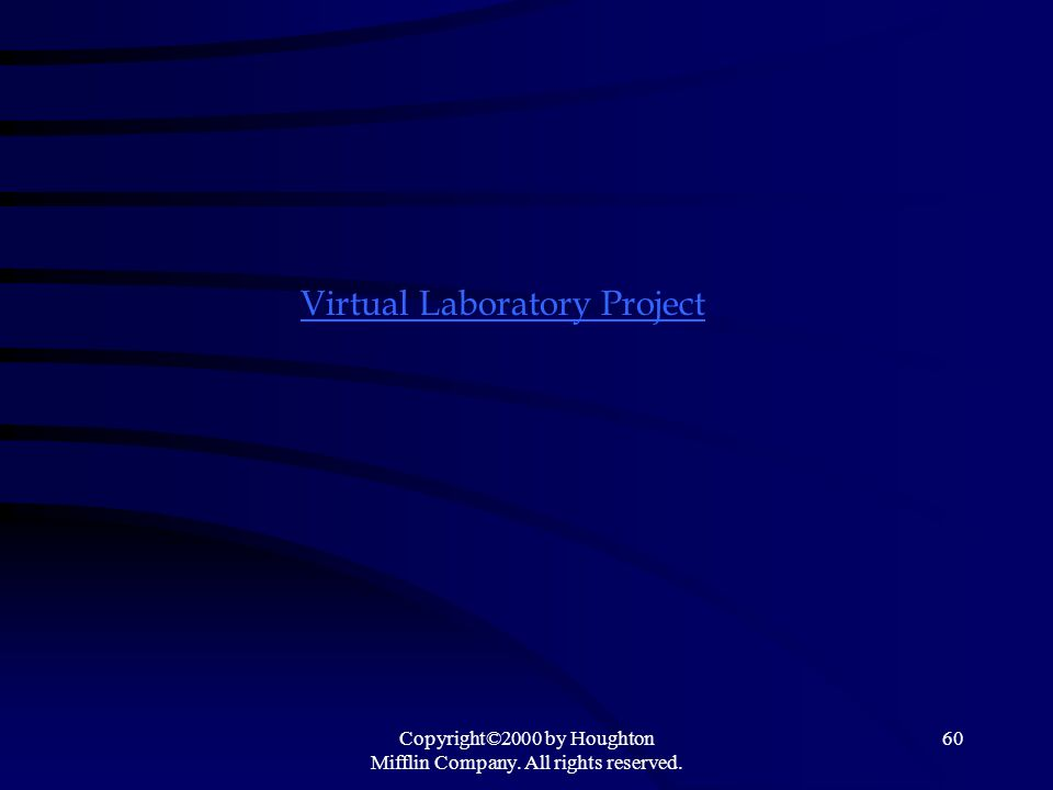Copyright©2000 by Houghton Mifflin Company. All rights reserved. 60 Virtual Laboratory Project