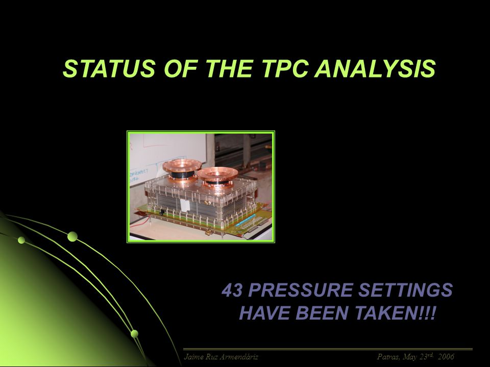 2005-2006 TPC DATA TAKING FROM NOVEMBER 22 nd TO DECEMBER 14 th FROM JANUARY 19 TH TO FEBRUARY 2 ND FROM APRIL 29 TH TO MAY 14 TH Tracking Background Jaime Ruz Armendáriz Patras, May 23 rd, 2006