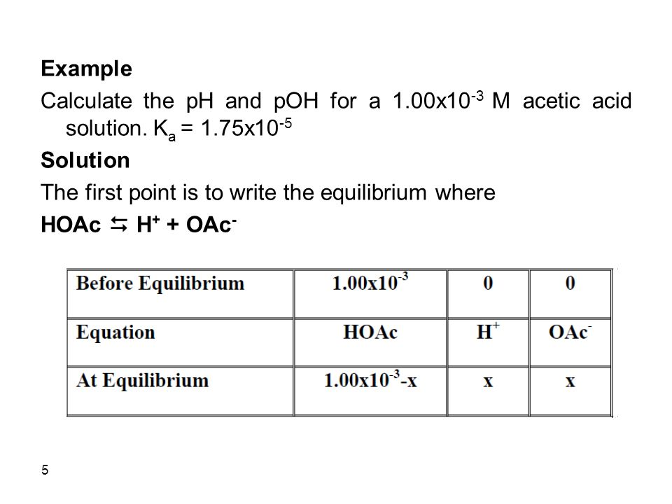 5 Example Calculate the pH and pOH for a 1.00x10 -3 M acetic acid solution.