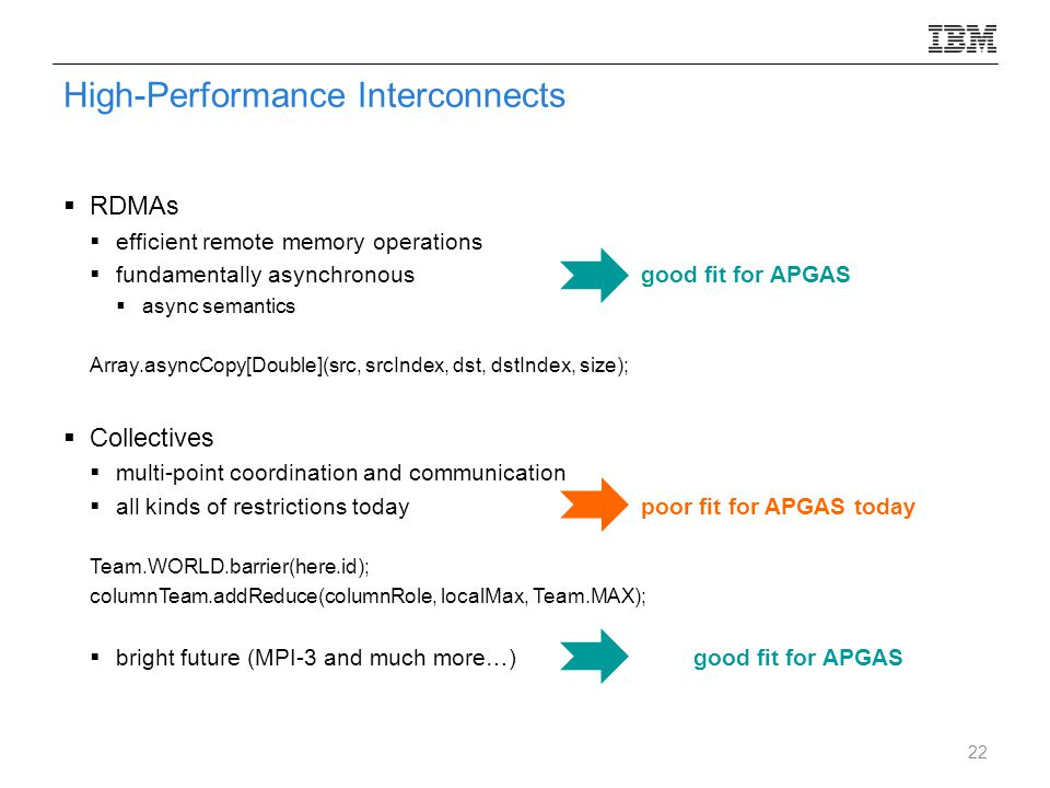 High-Performance Interconnects  RDMAs  efficient remote memory operations  fundamentally asynchronous good fit for APGAS  async semantics Array.asyncCopy[Double](src, srcIndex, dst, dstIndex, size);  Collectives  multi-point coordination and communication  all kinds of restrictions todaypoor fit for APGAS today Team.WORLD.barrier(here.id); columnTeam.addReduce(columnRole, localMax, Team.MAX);  bright future (MPI-3 and much more…)good fit for APGAS 22