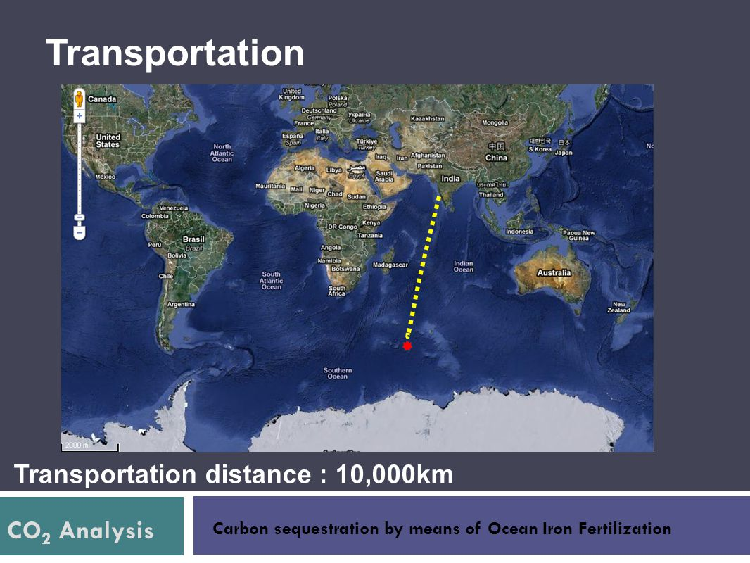 CO 2 Analysis Carbon sequestration by means of Ocean Iron Fertilization Transportation Transportation distance : 10,000km