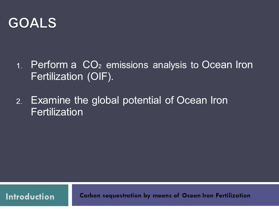 Carbon sequestration by means of Ocean Iron Fertilization Introduction Raw Materials Manufacture Distribution Product use Closing the loopMethodology Life Cycle Life Cycle Analysis Analysis