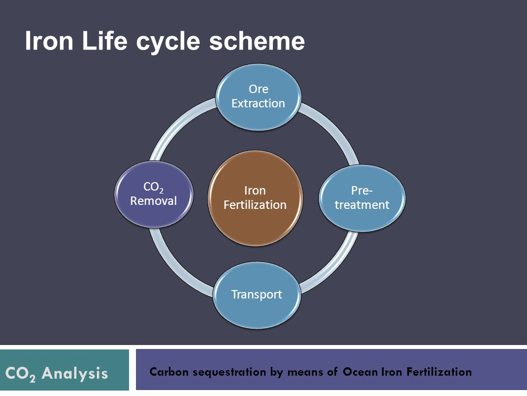 CO 2 Analysis Carbon sequestration by means of Ocean Iron Fertilization Iron Life cycle scheme Iron Fertilization Ore Extraction Pre- treatment CO2 Re