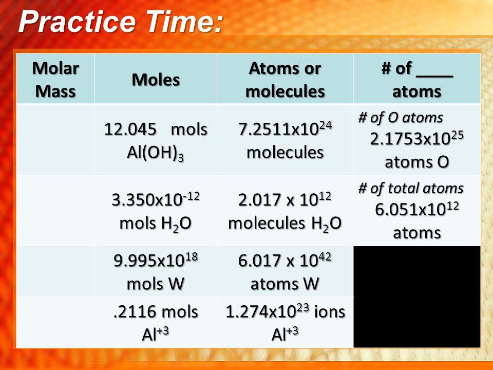 Practice Time: Molar Mass Moles Atoms or molecules # of ____ atoms 12.045 mols Al(OH) 3 7.2511x10 24 molecules # of O atoms 2.1753x10 25 atoms O 3.350