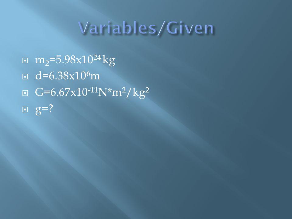  m 2 =5.98x10 24 kg  d=6.38x10 6 m  G=6.67x10 -11 N*m 2 /kg 2  g=?