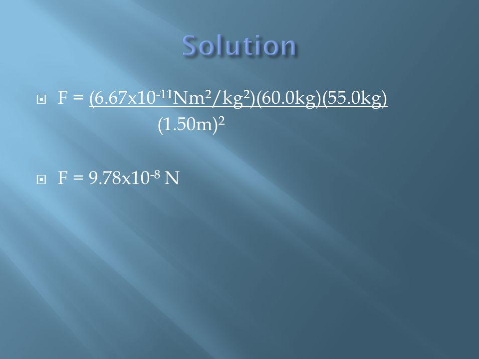 F = (6.67x10 -11 Nm 2 /kg 2 )(60.0kg)(55.0kg) (1.50m) 2  F = 9.78x10 -8 N