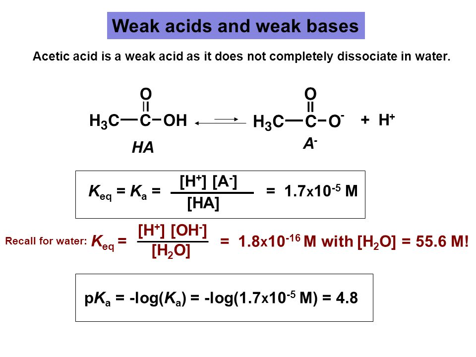 Weak acids and weak bases + H + HA A-A- K eq = K a = [H + ] [A - ] [HA] = 1.7 x 10 -5 M pK a = -log(K a ) = -log(1.7 x 10 -5 M) = 4.8 Acetic acid is a weak acid as it does not completely dissociate in water.