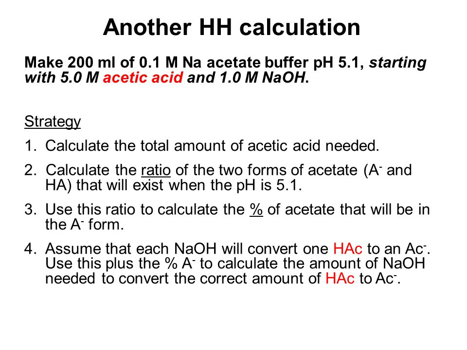 Make 200 ml of 0.1 M Na acetate buffer pH 5.1, starting with 5.0 M acetic acid and 1.0 M NaOH.