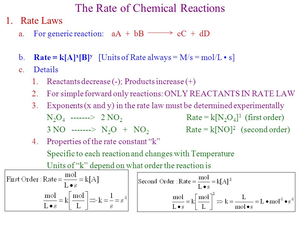The Rate of Chemical Reactions 1.Rate Laws a.For generic reaction: aA + bB cC + dD b.