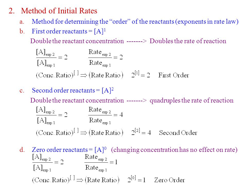 2.Method of Initial Rates a.Method for determining the order of the reactants (exponents in rate law) b.First order reactants = [A] 1 Double the reactant concentration -------> Doubles the rate of reaction c.Second order reactants = [A] 2 Double the reactant concentration -------> quadruples the rate of reaction d.Zero order reactants = [A] 0 (changing concentration has no effect on rate)