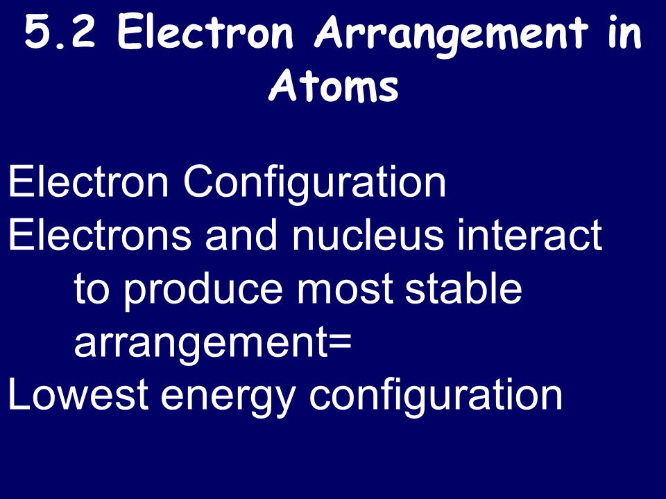 5.2 Electron Arrangement in Atoms Electron Configuration Electrons and nucleus interact to produce most stable arrangement= Lowest energy configuratio