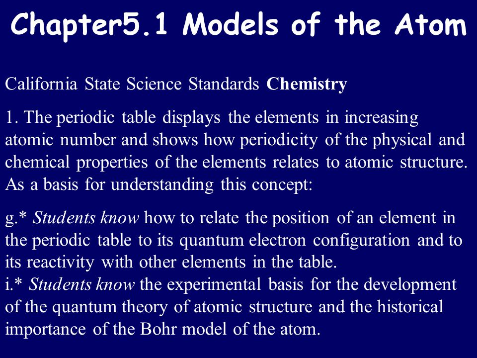 Chapter5.1 Models of the Atom California State Science Standards Chemistry 1. The periodic table displays the elements in increasing atomic number and