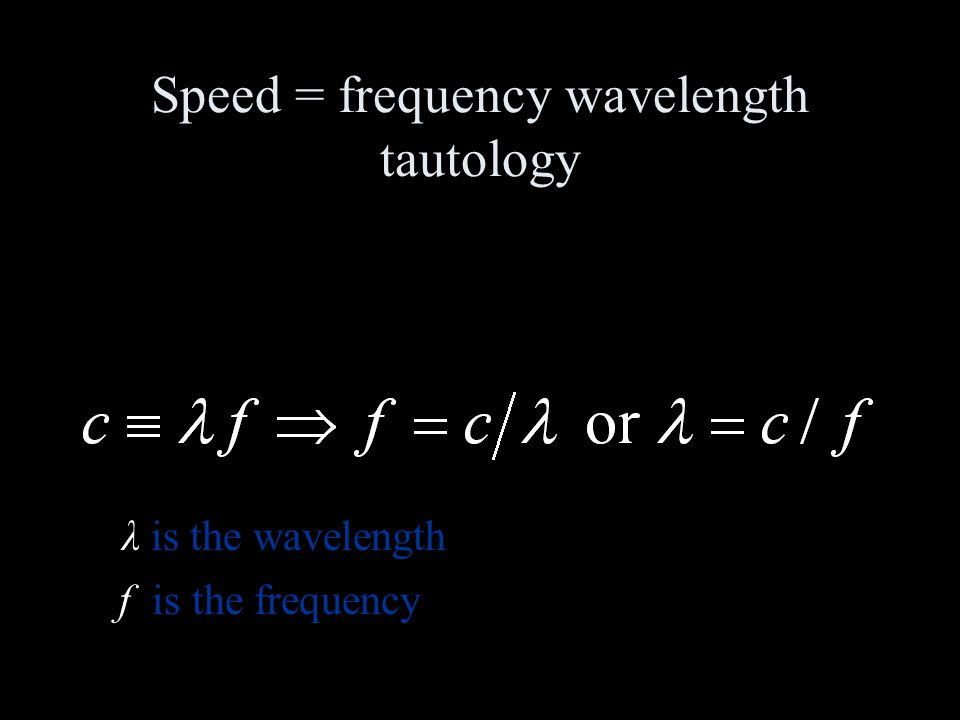 Speed = frequency wavelength tautology λ is the wavelength f is the frequency