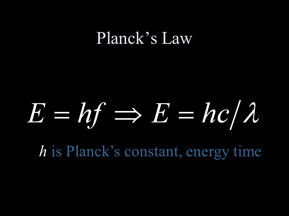 Planck's Law h is Planck's constant, energy time
