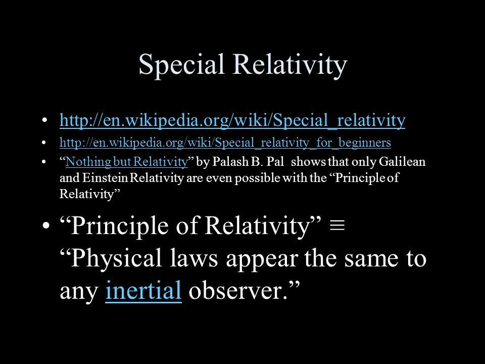 Special Relativity http://en.wikipedia.org/wiki/Special_relativity http://en.wikipedia.org/wiki/Special_relativity_for_beginners Nothing but Relativity by Palash B.