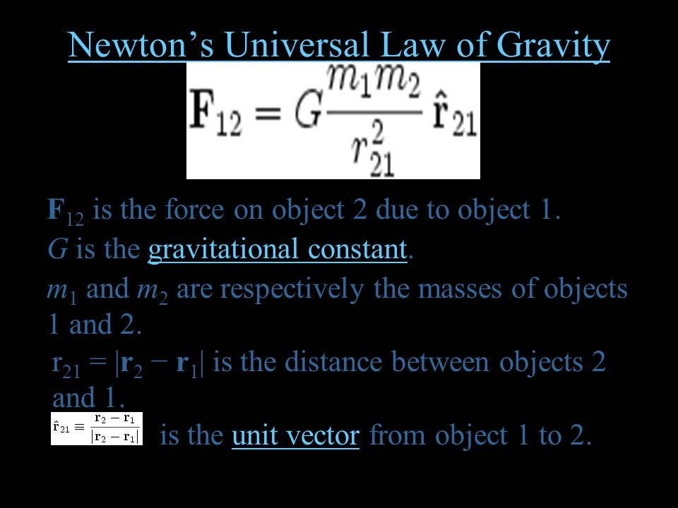 Newton's Universal Law of Gravity F 12 is the force on object 2 due to object 1.