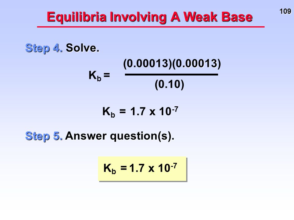 109 Equilibria Involving A Weak Base Step 4. Solve. K b = 1.7 x 10 -7 K b =.00013 (0.00013)(0.00013) (0.10) Step 5. Answer question(s). K b = 1.7 x 10