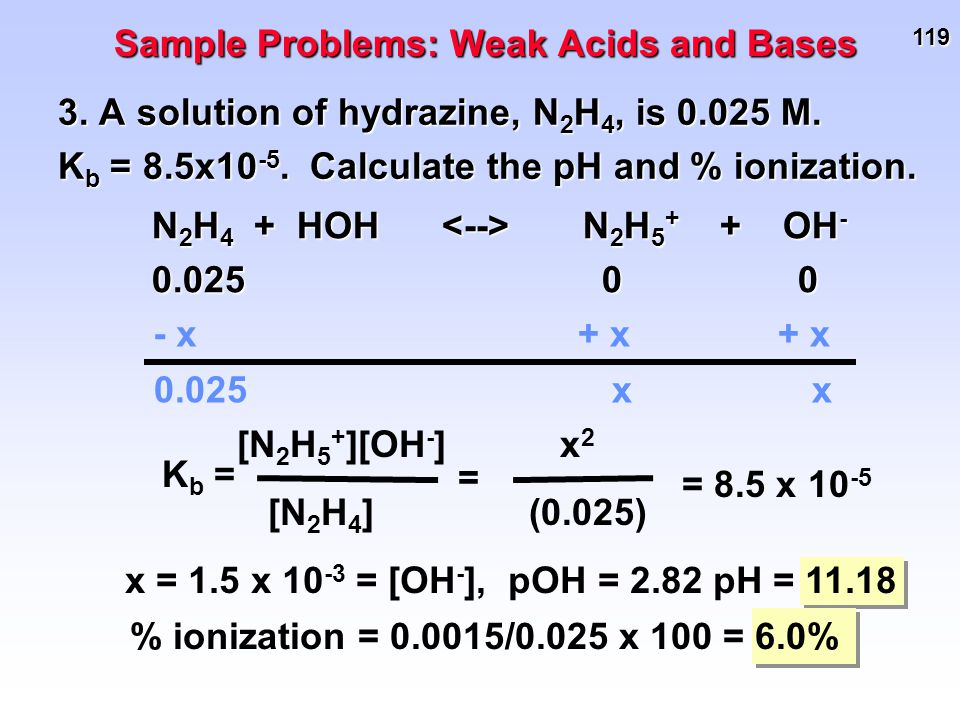 119 3. A solution of hydrazine, N 2 H 4, is 0.025 M. K b = 8.5x10 -5. Calculate the pH and % ionization. Sample Problems: Weak Acids and Bases N 2 H 4