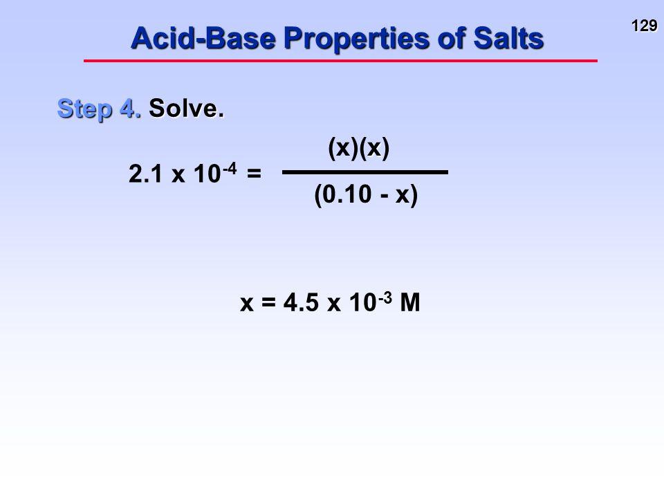 129 Acid-Base Properties of Salts Step 4. Solve. 2.1 x 10 -4 = x (x)(x) (0.10 - x) x = 4.5 x 10 -3 M