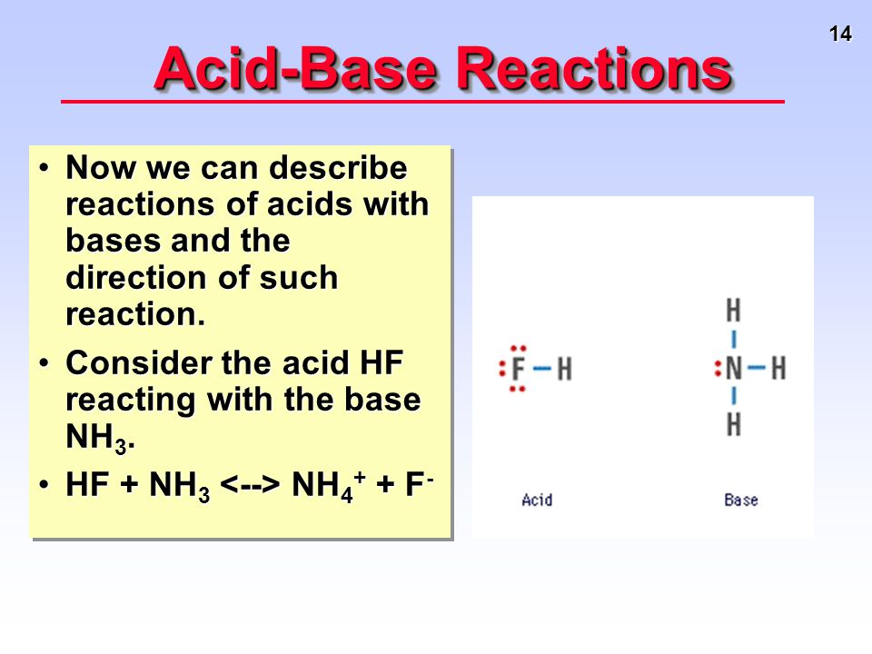 14 Acid-Base Reactions Now we can describe reactions of acids with bases and the direction of such reaction.Now we can describe reactions of acids wit