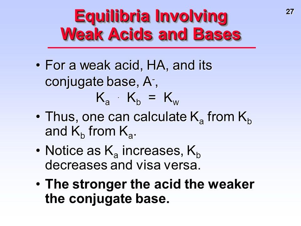 27 For a weak acid, HA, and its conjugate base, A -, K a. K b = K wFor a weak acid, HA, and its conjugate base, A -, K a. K b = K w Thus, one can calc