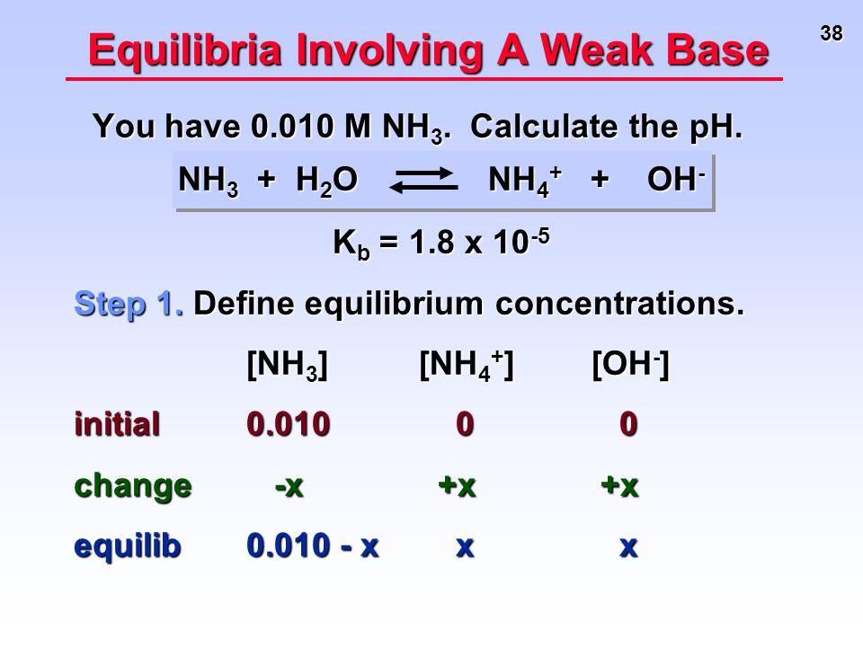 38 Equilibria Involving A Weak Base You have 0.010 M NH 3. Calculate the pH. You have 0.010 M NH 3. Calculate the pH. NH 3 + H 2 O NH 4 + + OH - NH 3