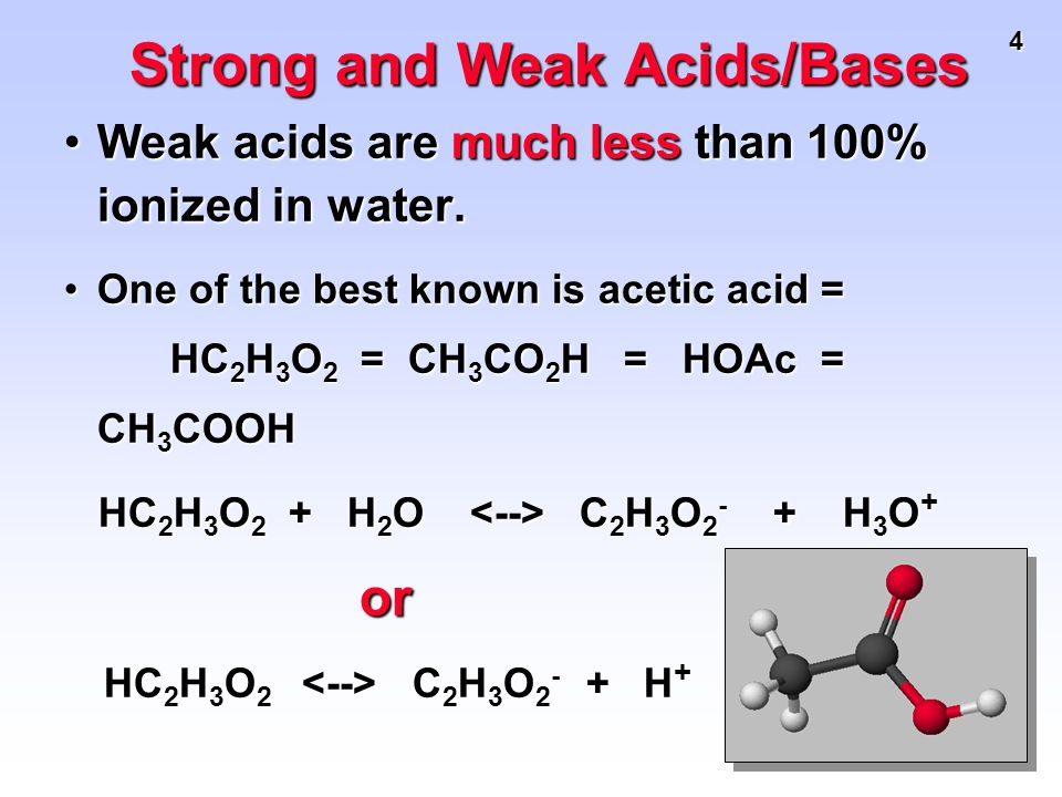 4 Weak acids are much less than 100% ionized in water.Weak acids are much less than 100% ionized in water. One of the best known is acetic acid = HC 2
