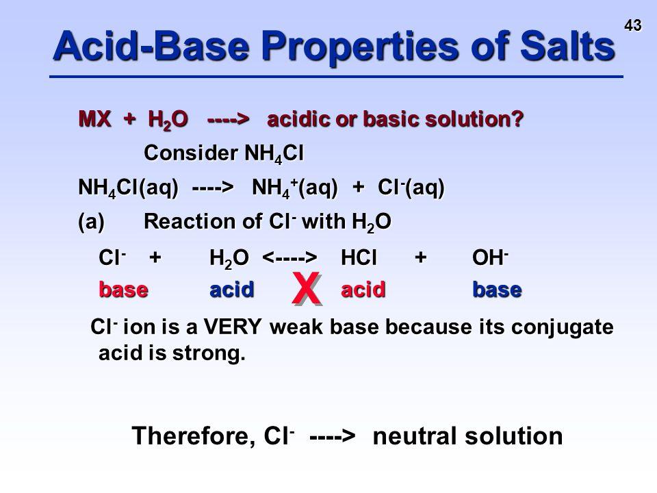 43 MX + H 2 O ----> acidic or basic solution? Consider NH 4 Cl NH 4 Cl(aq) ----> NH 4 + (aq) + Cl - (aq) (a)Reaction of Cl - with H 2 O Cl - + H 2 O H