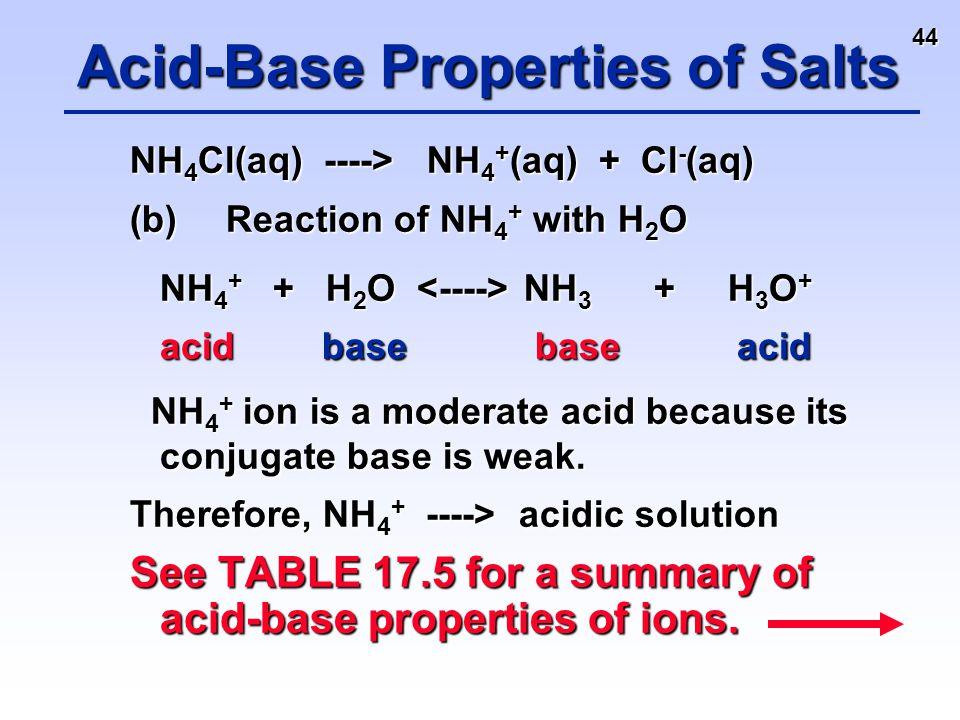 44 NH 4 Cl(aq) ----> NH 4 + (aq) + Cl - (aq) (b)Reaction of NH 4 + with H 2 O NH 4 + + H 2 O NH 3 + H 3 O + acidbase base acid NH 4 + + H 2 O NH 3 + H