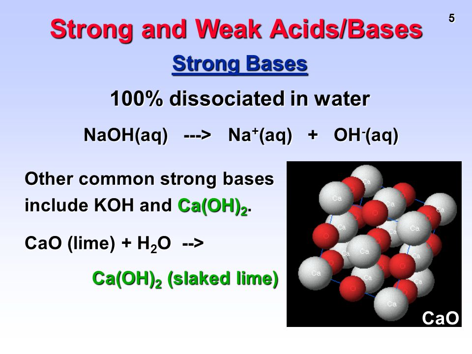5 Strong Bases 100% dissociated in water NaOH(aq) ---> Na + (aq) + OH - (aq) NaOH(aq) ---> Na + (aq) + OH - (aq) Strong and Weak Acids/Bases Other com