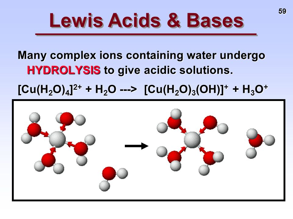59 Many complex ions containing water undergo HYDROLYSIS to give acidic solutions. [Cu(H 2 O) 4 ] 2+ + H 2 O ---> [Cu(H 2 O) 3 (OH)] + + H 3 O + Lewis