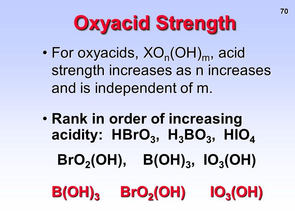 70 Oxyacid Strength For oxyacids, XO n (OH) m, acid strength increases as n increases and is independent of m.For oxyacids, XO n (OH) m, acid strength