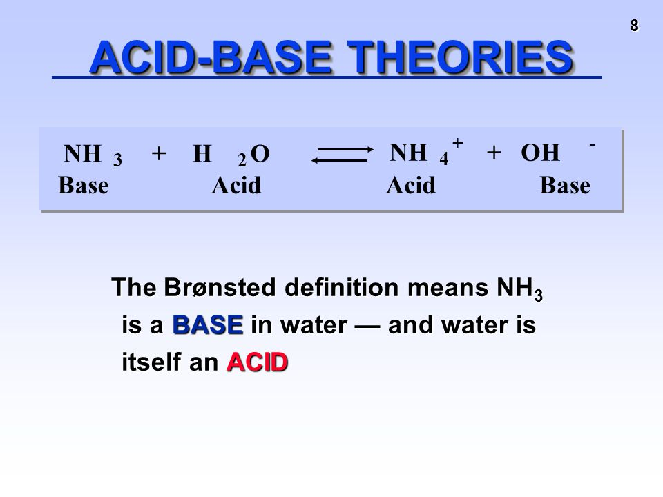 8 ACID-BASE THEORIES The Brønsted definition means NH 3 is a BASE in water — and water is itself an ACID The Brønsted definition means NH 3 is a BASE