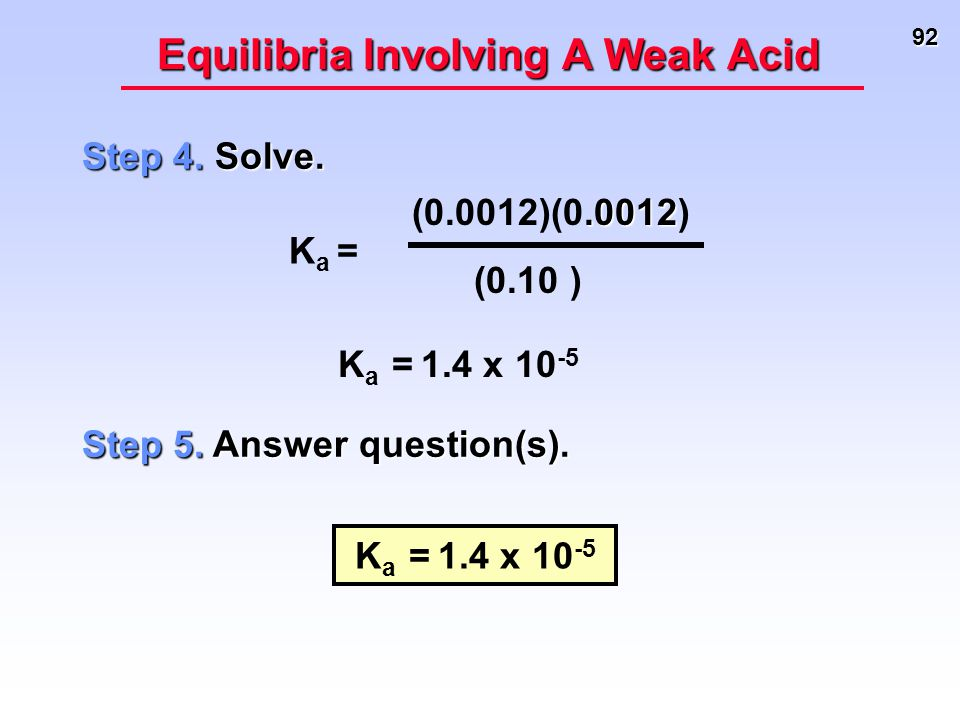 92 Equilibria Involving A Weak Acid Step 4. Solve. K a = 1.4 x 10 -5 Step 5. Answer question(s). K a = 1.4 x 10 -5 K a =.0012 (0.0012)(0.0012) (0.10 )