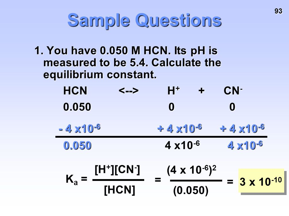 93 Sample Questions 1. You have 0.050 M HCN. Its pH is measured to be 5.4. Calculate the equilibrium constant. HCN H + + CN - 0.050 0 0 - 4 x10 -6 + 4
