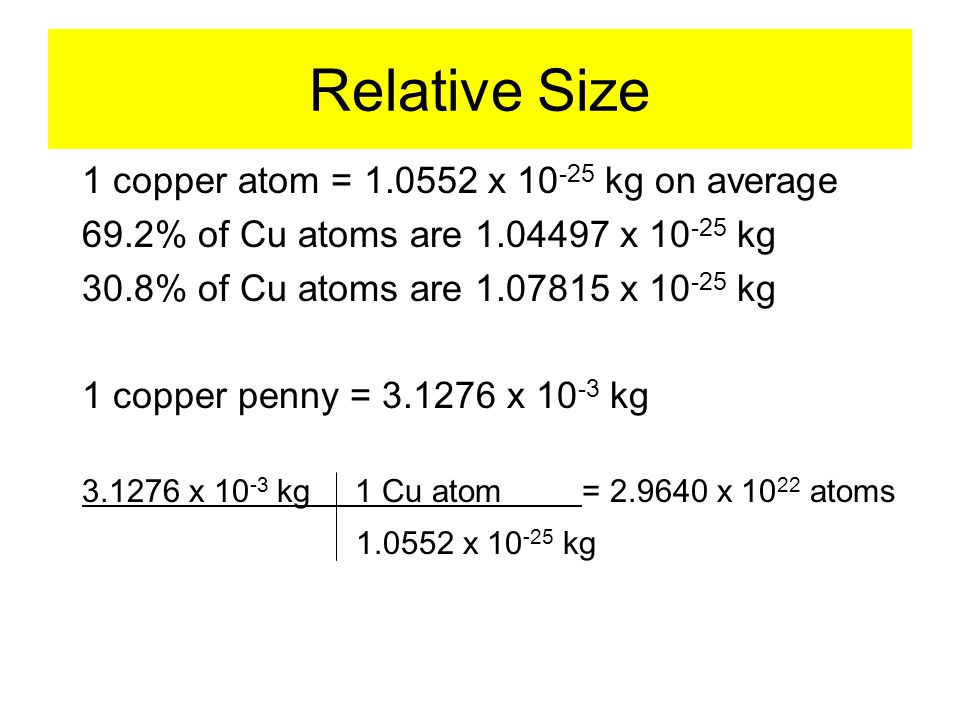 1 copper atom = 1.0552 x 10 -25 kg on average 69.2% of Cu atoms are 1.04497 x 10 -25 kg 30.8% of Cu atoms are 1.07815 x 10 -25 kg 1 copper penny = 3.1