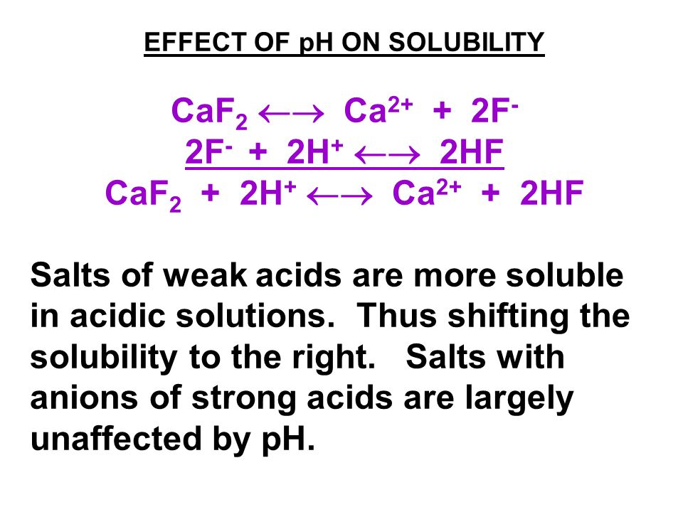 EFFECT OF pH ON SOLUBILITY CaF 2  Ca 2+ + 2F - 2F - + 2H +  2HF CaF 2 + 2H +  Ca 2+ + 2HF Salts of weak acids are more soluble in acidic solutions.