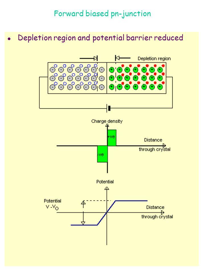Forward biased pn-junction l Depletion region and potential barrier reduced
