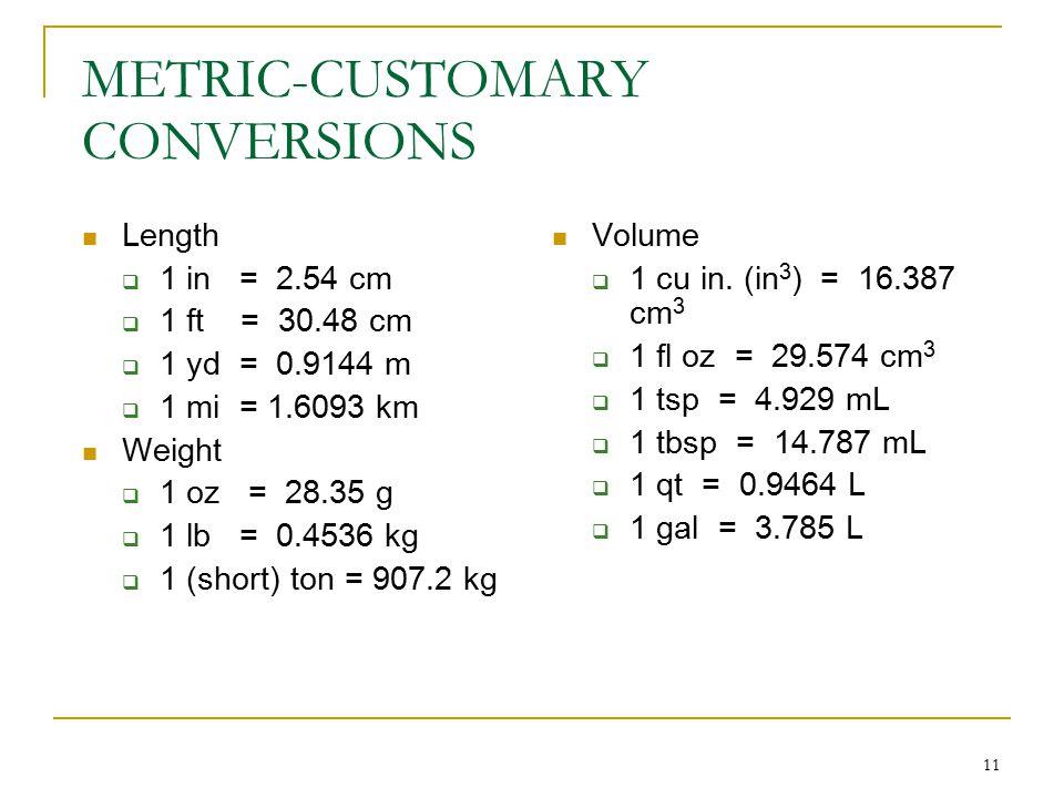 11 METRIC-CUSTOMARY CONVERSIONS Length  1 in = 2.54 cm  1 ft = 30.48 cm  1 yd = 0.9144 m  1 mi = 1.6093 km Weight  1 oz = 28.35 g  1 lb = 0.4536